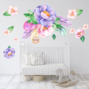 30 feather purple pink watercolor wall decal sticker wallpaper decals flowers floral baby nursery art decor