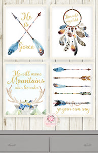 4 Dreamcatcher Antlers Wall Art Print Boho Blue Feather Tribal Woodland Baby Boy Nursery Room Set Lot Prints Printable Decor