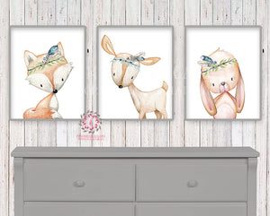 3 Deer Fox Bunny Rabbit Tribal Boy Nursery Printable Print Wall Art Woodland Feathers Boho Baby Bedroom Set Lot Prints Decor