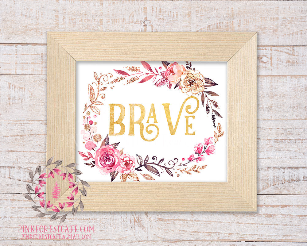 Brave Woodland Boho Nursery Decor Baby Girl Wall Art Watercolor Floral Printable Print