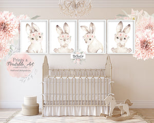 4 Boho Bunny Rabbit Wall Art Print Woodland Blush Nursery Baby Girl Room Peony Floral Bohemian Watercolor Set Prints Printable Decor