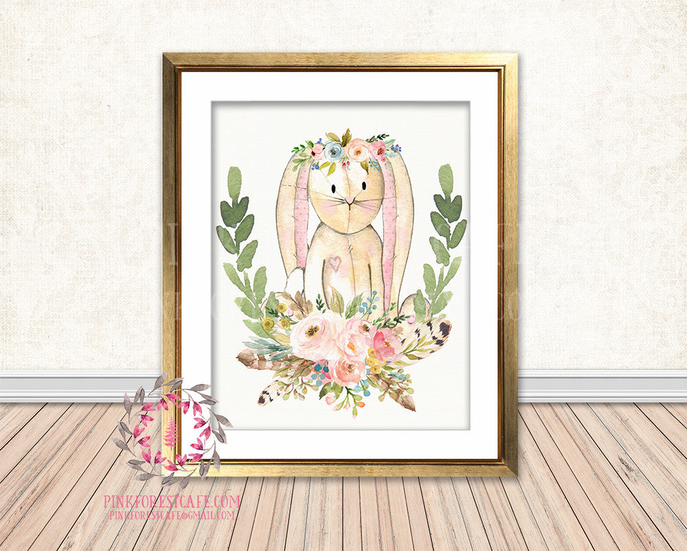 Boho Bunny Rabbit Bohemian Blush Floral Feather Woodland Nursery Baby Girl Room Printable Print Wall Art Decor