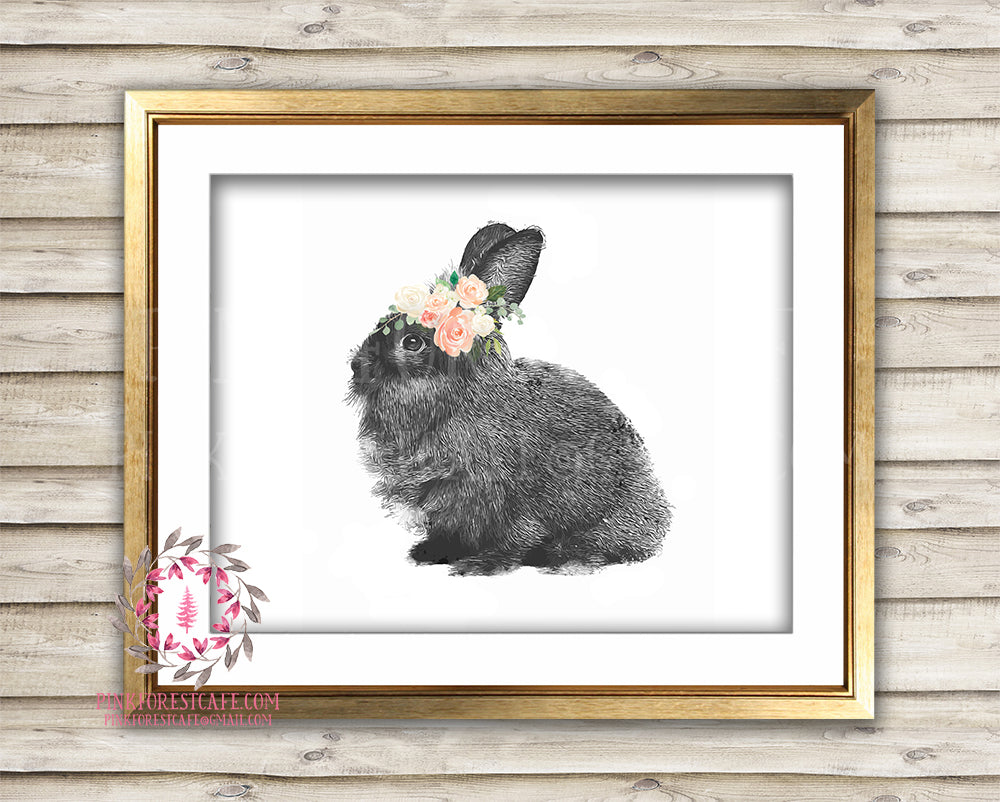 Bunny Boho Blush Watercolor Woodland Printable Print Wall Art Bohemian Floral Nursery Baby Girl Room Decor