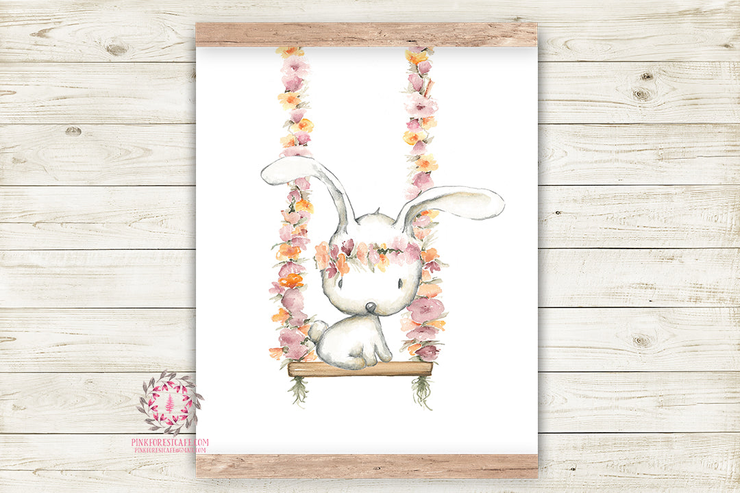 Boho Bunny Rabbit Swing Wall Art Print Woodland Bohemian Floral Nursery Baby Girl Room Printable Decor