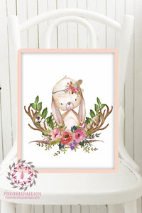 Bunny Rabbit Woodland Boho Printable Print Wall Art Baby Nursery Feather Antlers Watercolor Bohemian Floral Girl Room Decor