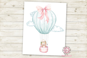 Boho Bunny Hot Air Balloon Woodland Wall Art Print Floral Nursery Baby Girl Room Printable Bohemian Decor