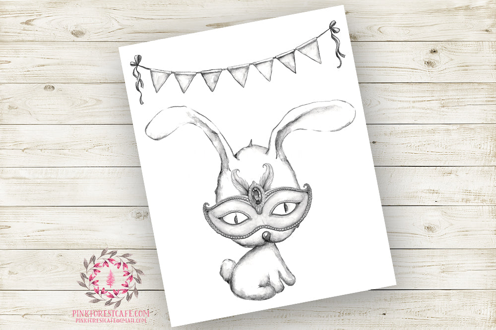 Bunny Rabbit Masquerade Mask Nursery Wall Art Print Monochromatic Ethereal Superhero Amusement Park Woodland Boho Printable Watercolor Carnival Decor