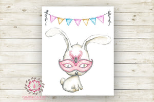 Bunny Rabbit Masquerade Mask Nursery Wall Art Print Ethereal Superhero Amusement Park Woodland Boho Printable Watercolor Carnival Decor