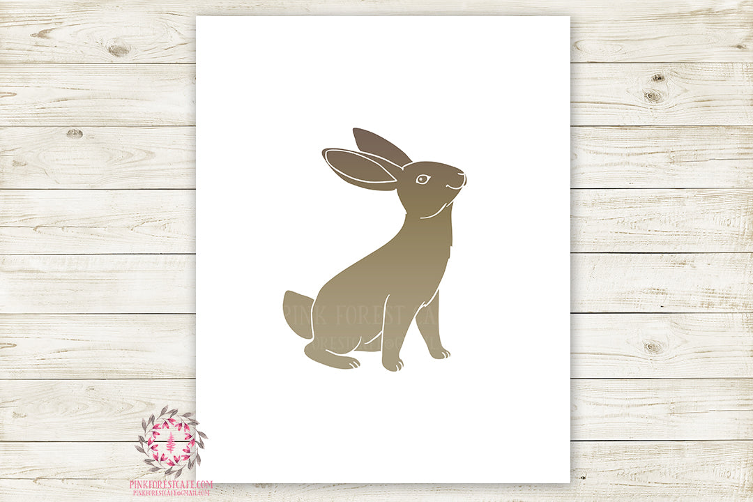 Bunny Rabbit Woodland Wall Art Print Baby Boy Nursery Rustic Silhouette Primitive Tribal Kids Room Printable Decor