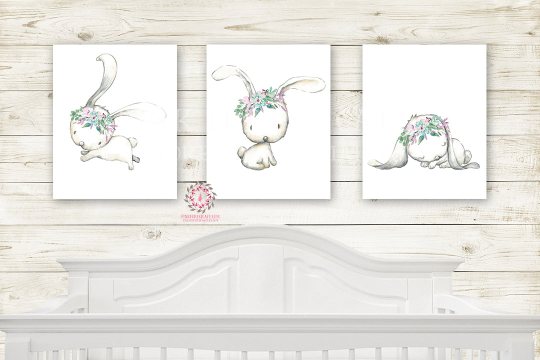 Boho Bunny Rabbit Set 3 Watercolor Wall Art Print Purple Aqua Mint Baby Girl Nursery Prints Poster Room Printable Decor