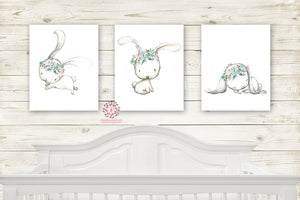 Boho Floral Bunny Rabbit Wall Art Prints Nursery Woodland Girl Mint Purple Baby Kids Room Bedroom Decor Print Set Of 3
