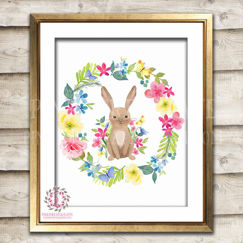 Boho Bohemian Bunny Rabbit Woodland Printable Wall Art Print Floral Nursery Baby Girl Room Decor