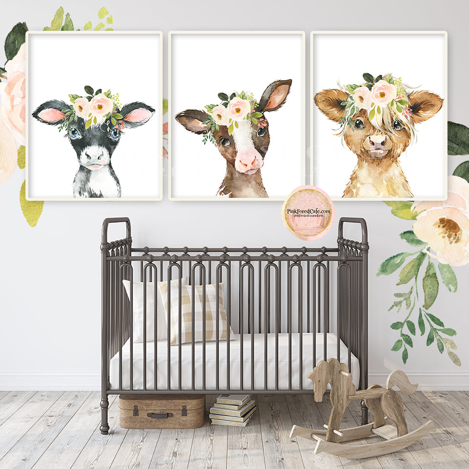 3 Boho Cow Wall Art Print Farm Nursery Baby Room Blush Floral Bohemian Watercolor Printable Decor