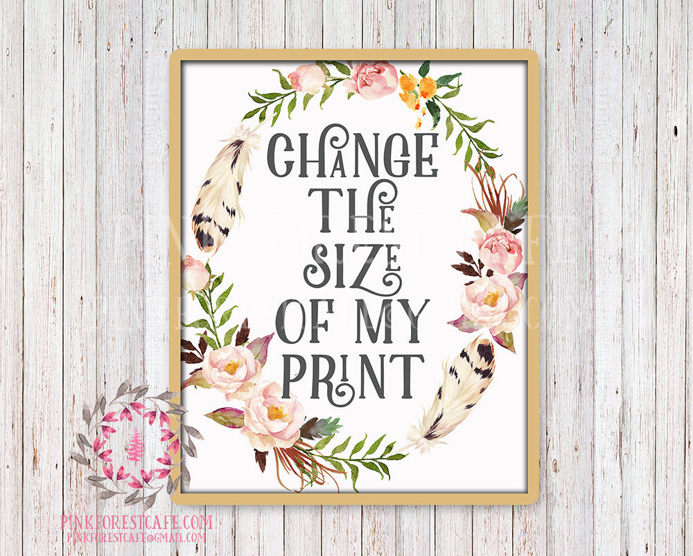 Change The Size Of My Print Any Printable Wall Art Nursery Home Decor Print From Pink Forest Cafe