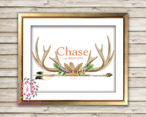 Boho Antler Tribal Arrow Baby Personalized Woodland Gift Watercolor Boy Nursery Decor Printable Print Wall Art