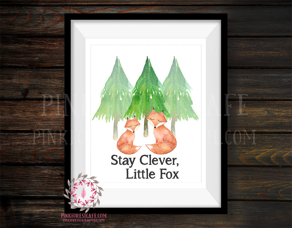 Clever Fox Camping Woodland Adventure Nursery Baby Printable Print Wall Art Set Lot Prints Cabin Home Decor