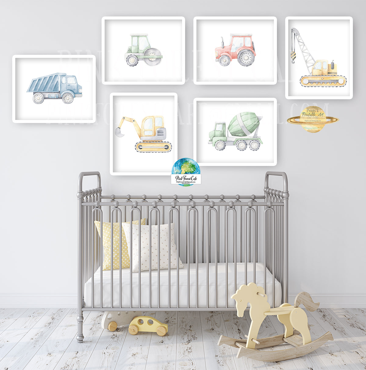 6 Construction Truck Digger Wall Art Print Boy Nursery Room Set Prints Printable Décor