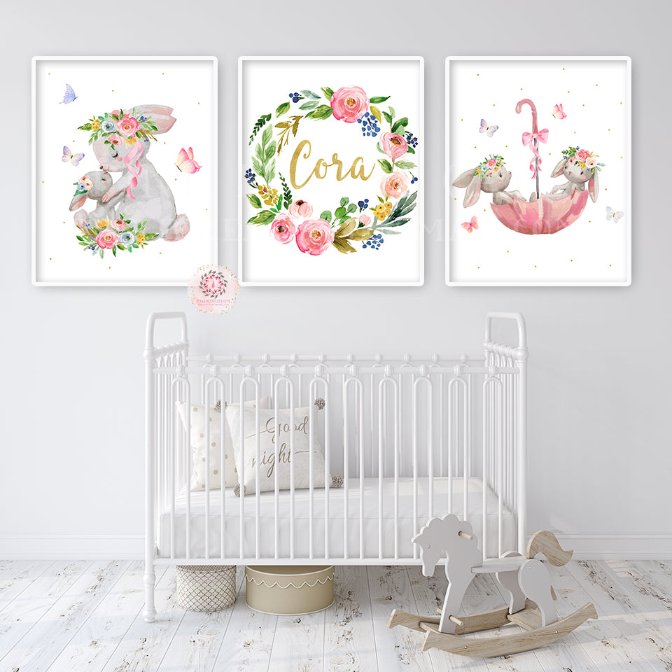 3 Nursery Prints PERSONALISED Bunny Rabbit Elephant Baby Room Wall Art Decor