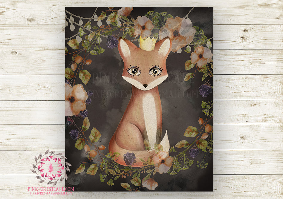 Fox Crown Nursery Wall Art Print Baby Girl Ethereal Rustic Printable Watercolor Mystery Fantasy Magical Carnival Decor