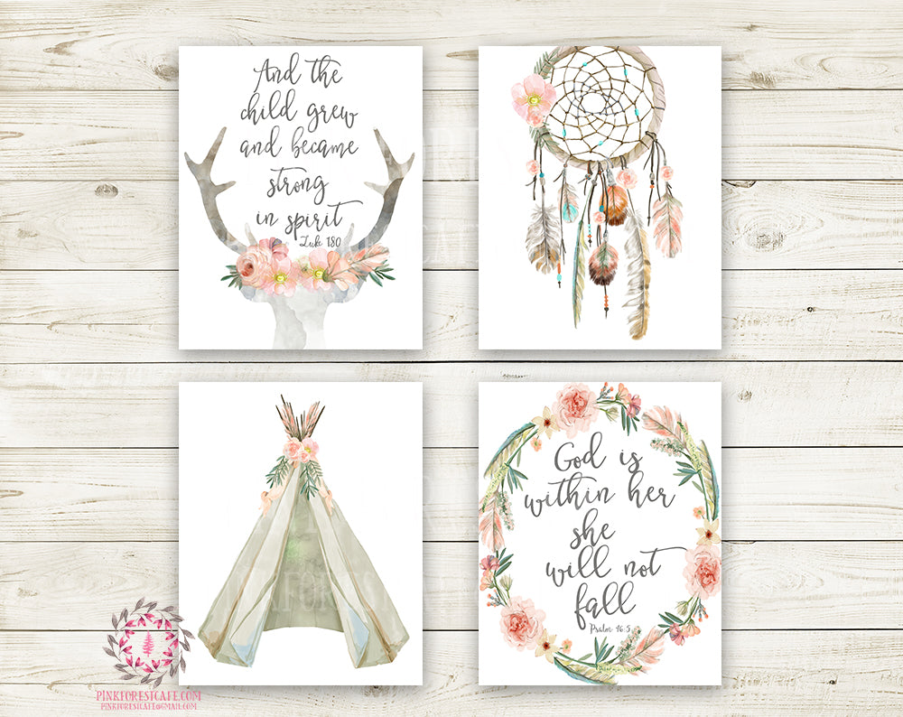 4 Boho Teepee Bible Verse Wall Art Print Woodland Bohemian Floral Nursery Baby Girl Room Set Lot Prints Dreamcatcher Deer Antlers Printable Decor