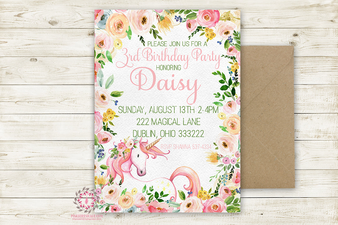 Birthday Party Invite Invitation Unicorn Watercolor Floral Theme Baby Announcement Bridal Shower Printable