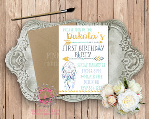 Dreamcatcher Arrow Teepee Tribal Blue Gold Theme Baby Bridal Shower Birthday Party Printable Invitation Invite