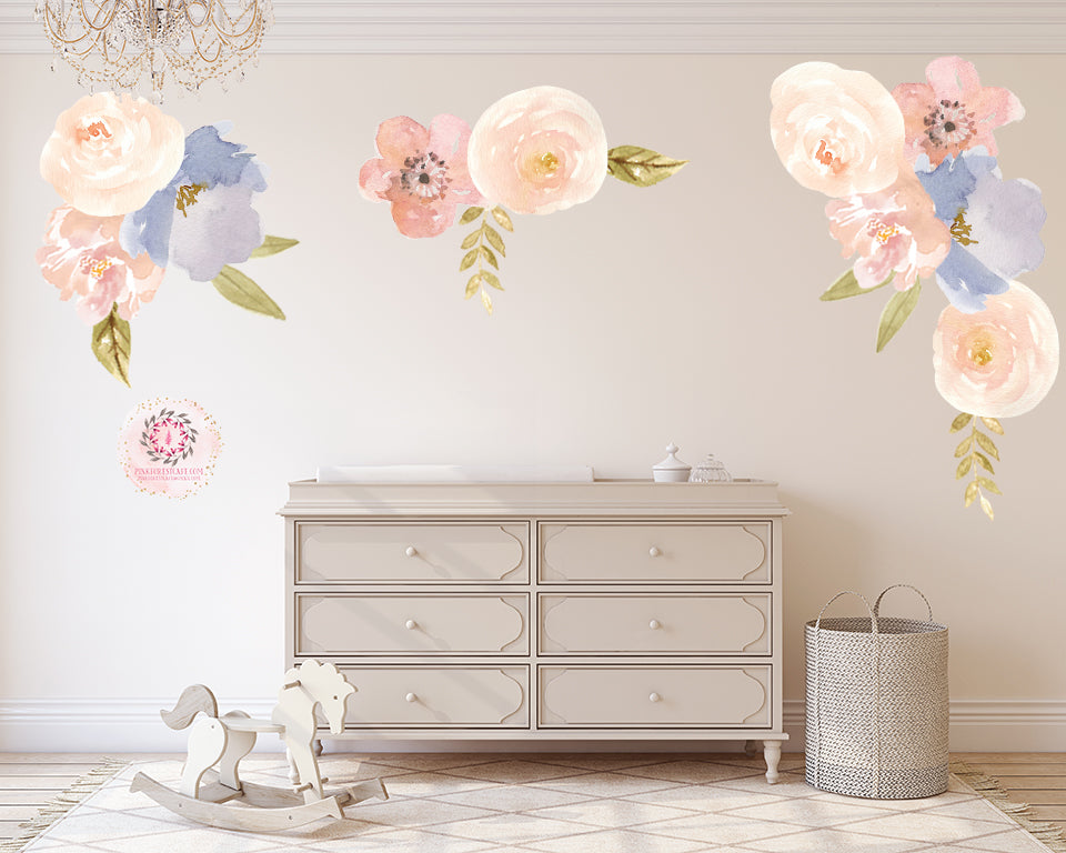 Peony Peonies Floral Wall Decal Flower Watercolor Decals Sticker Blush Pink Peach Blue Art Boho Decor