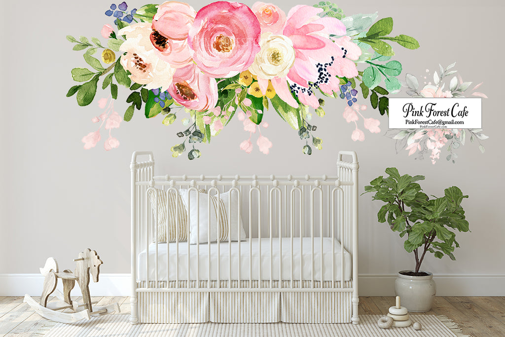 "SALE 72"" Peony Floral Wall Decal Flower Sticker Blush Pink Rose Flowers Boho Decor"
