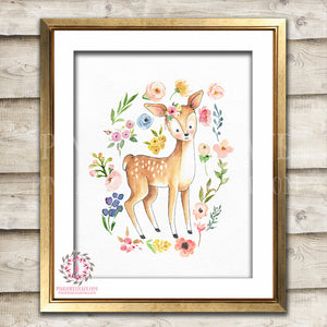 Boho Deer Watercolor Bohemian Blush Floral Woodland Nursery Baby Girl Room Printable Print Wall Art Decor