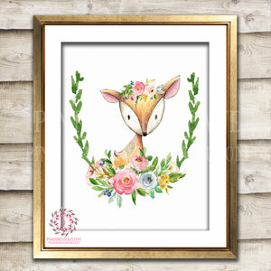 Deer Watercolor Woodland Boho Bohemian Floral Nursery Baby Girl Room Printable Print Wall Art Home Decor