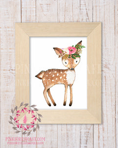 Boho Chic Deer Wall Art Print Watercolor Floral Bohemian Woodland Printable Nursery Decor