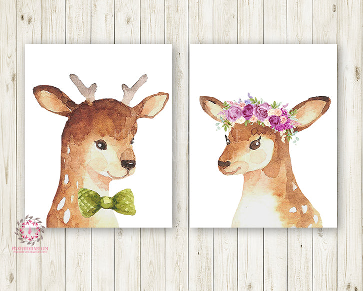 2 Deer Doe Buck Antlers Printable Print Wall Art Woodland Boho Bohemian Floral Nursery Baby Girl Bedroom Set Lot Prints Decor