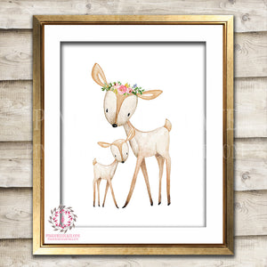 Boho Bohemian Deer Mama Fawn Woodland Printable Wall Art Print Garden Floral Nursery Baby Girl Room Decor