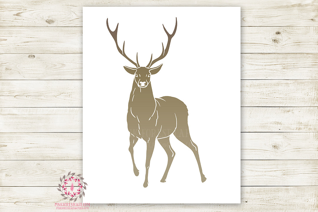 image about Printable Deer Antlers called Deer Antlers Buck Woodland Wall Artwork Print Child Boy Nursery Rustic Silhouette Tribal Small children Space Printable Decor