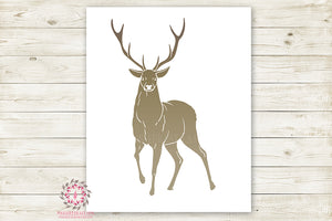 Deer Antlers Buck Woodland Wall Art Print Baby Boy Nursery Rustic Silhouette Tribal Kids Room Printable Decor