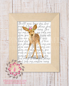 Deer You Are My Sunshine Woodland Printable Wall Art Nursery Home Decor