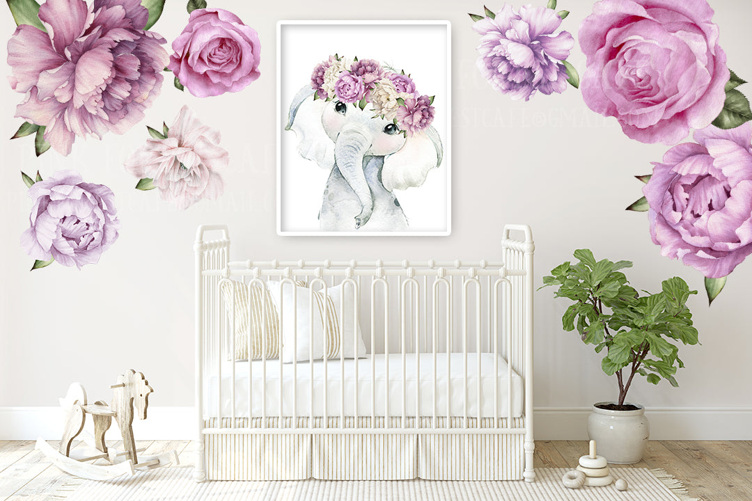 Boho Purple Peony Elephant Wall Art Print Nursery Baby Girl Room Floral Bohemian Watercolor Printable Décor