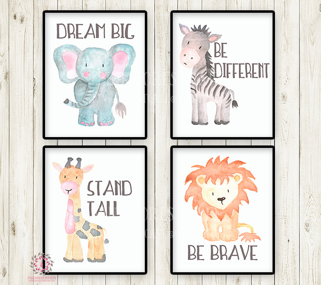 4 ZOO Giraffe Lion Elephant Zebra Safari Nursery Wall Art Print Kids Baby Room Playroom Set Lot Prints Printable Decor