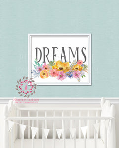 Boho Dreams Watercolor Floral Printable Print Wall Art Poster Nursery Decor