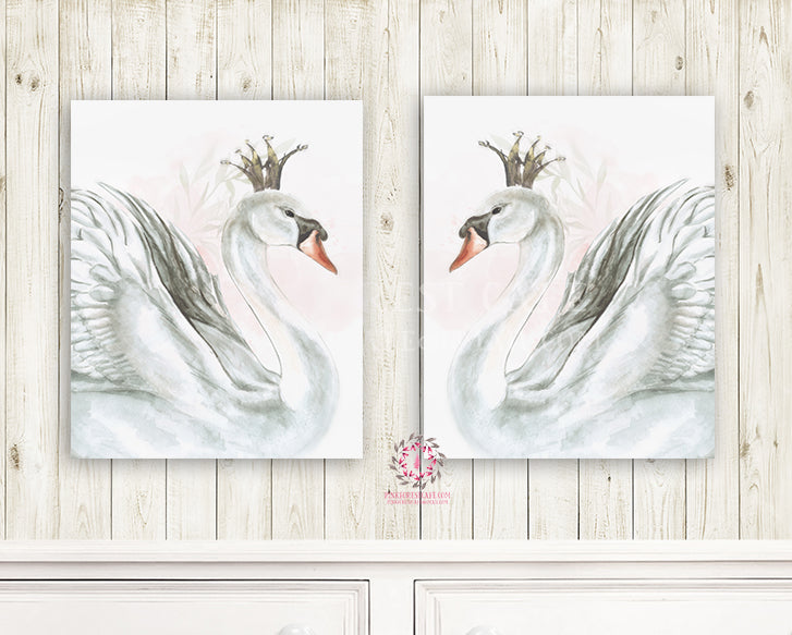 "2 Boho Swan Monochrome Nursery Wall Art Print Baby Girl Ethereal ""Miss Grace"" Set Of Prints Black Crown Watercolor Printable Decor"