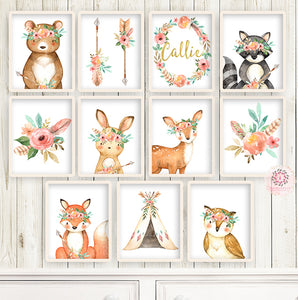 SALE 11 Boho Deer Fox Baby Name Wall Art Print Woodland Nursery Baby Girl Room Set Lot Watercolor Personalized Raccoon Bear Bunny Owl Arrow Teepee Prints Printable Decor