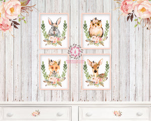 4 Deer Fox Bunny Rabbit Owl Woodland Boho Bohemian Feather Prints Printable Print Wall Art Floral Nursery Baby Girl Room Set Lot Decor