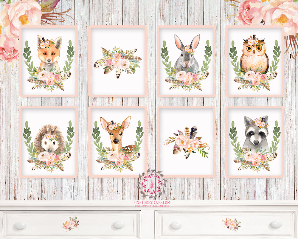 SALE 8 Deer Fox Bunny Rabbit Raccoon Owl Woodland Boho Bohemian Feather Prints Printable Print Wall Art Floral Nursery Baby Girl Room Set Lot Decor