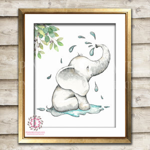 Elephant Bath Watercolor Zoo Animal Safari Nursery Kids Baby Room Playroom Print Printable Wall Poster Art Home Decor