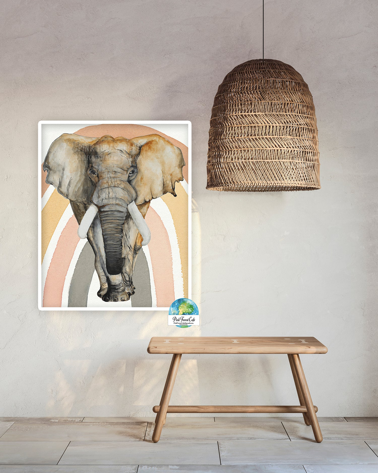 Elephant Tusk Rainbow Wall Art Print Jungle Zoo Safari Boy Nursery Printable Décor