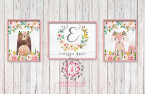 Set ANY 3 Prints Baby Name Monogram Initial Personalized Gift Boho Watercolor Woodland Floral Nursery Decor Printable Print Wall Art