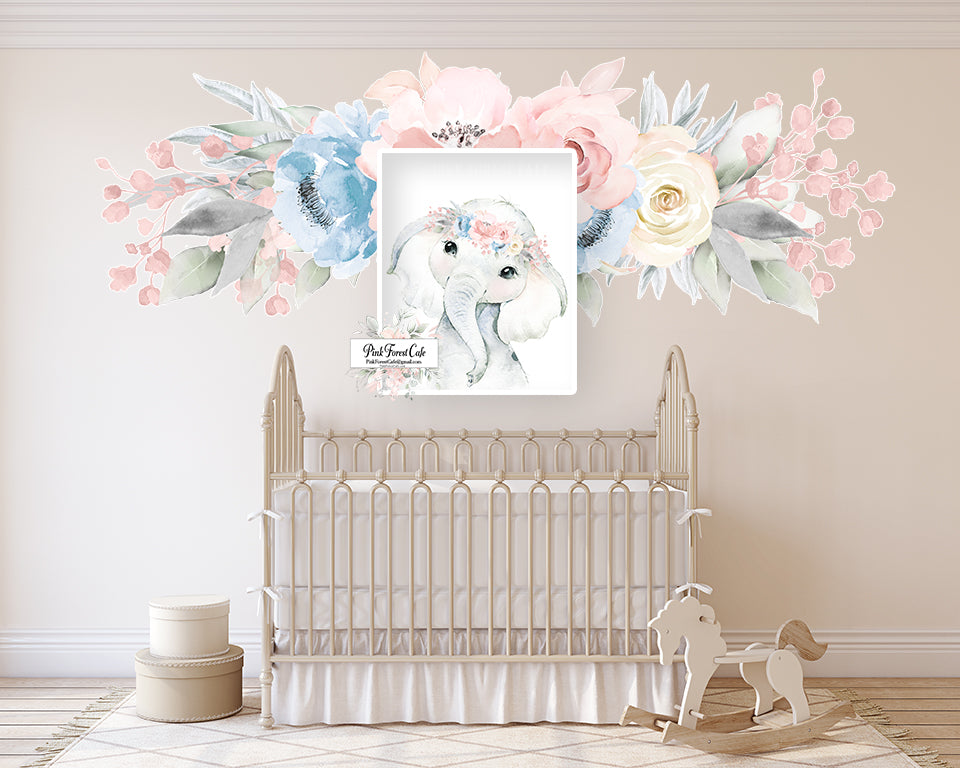 Blush Boho Elephant Wall Art Print Nursery Baby Girl Room Floral Bohemian Watercolor Printable Decor