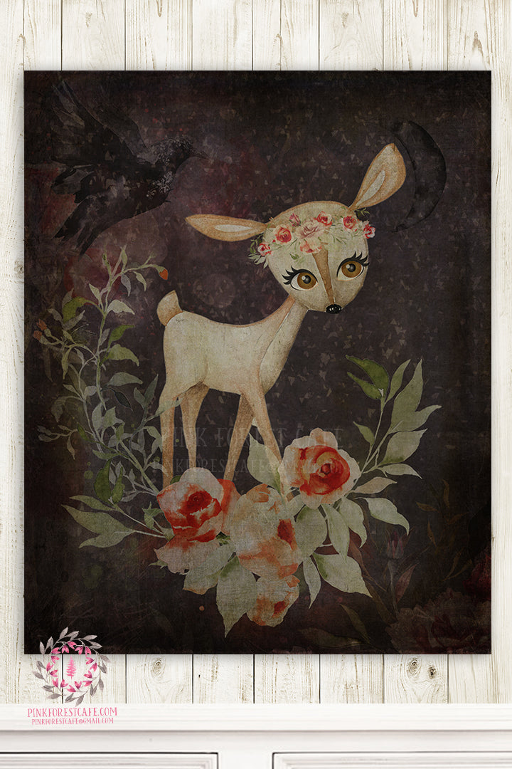 Deer Nursery Wall Art Ethereal Woodland Nursery Print Watercolor Boho Bohemian Baby Room Kids Bedroom Home Decor