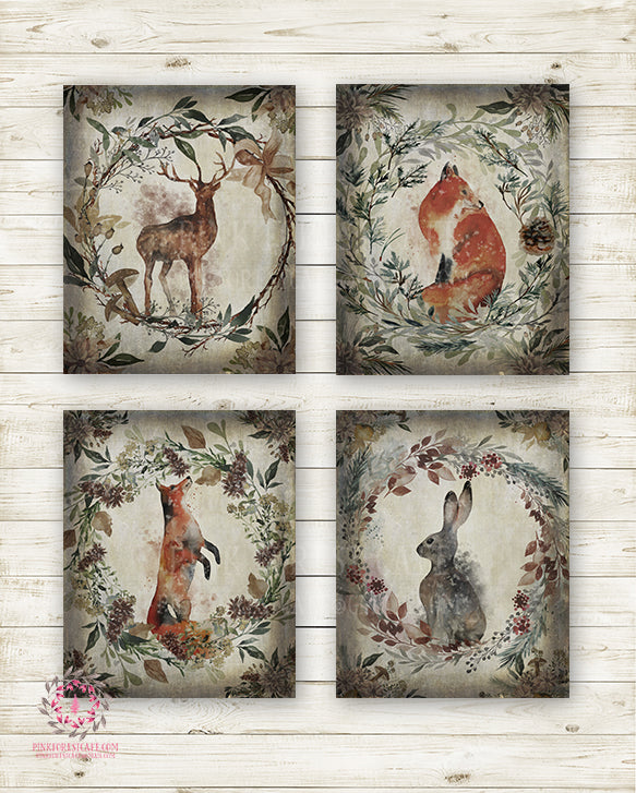 4 Deer Fox Bunny Rabbit Woodland Animal Wall Art Print Ethereal Baby Nursery Room Printable Watercolor Decor