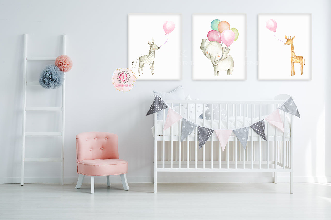 3 Boho Zebra Elephant Giraffe Baby Girl Nursery Wall Art Print Balloons Ethereal Whimsical Zoo Safari Animal Set Lot Prints Printable Decor